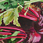 Trug with beetroot, courgette and turnip acrylic by Kate Chitham, artist and graphic designer working in Kent and the south east